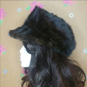 Vintage Filene's Mink Fur Hat Black Brown